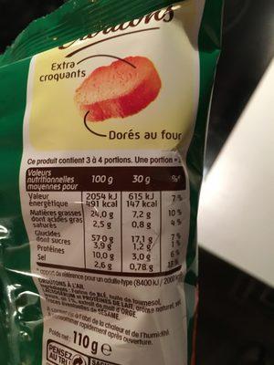 Croutons à l'ail - Informations nutritionnelles