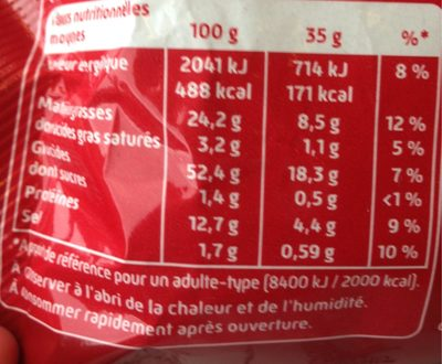 Curly Original 35 g - Format pause - Informations nutritionnelles