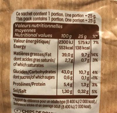 Chips à l'ancienne au sel fin - Nutrition facts - fr