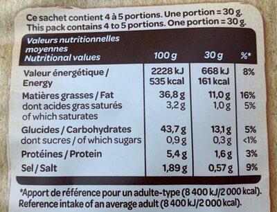 Chips A l'Ancienne, saveur vinaigre échalote - Informations nutritionnelles