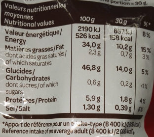 Extra Craquantes nature - Nutrition facts