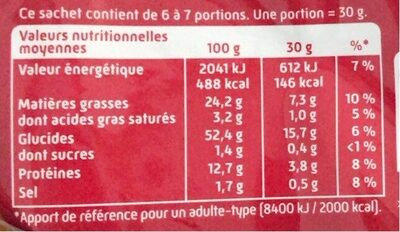 Curly Cacahuète Maxi 200 g - Informations nutritionnelles - fr