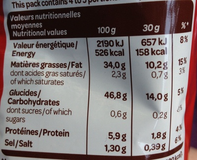 Extra craquante nature - Informations nutritionnelles
