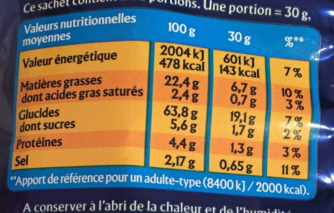 Monster Munch Salé 85G - Informations nutritionnelles