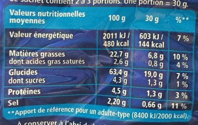 Monster Munch Jambon/Fromage 2x85g - Nutrition facts