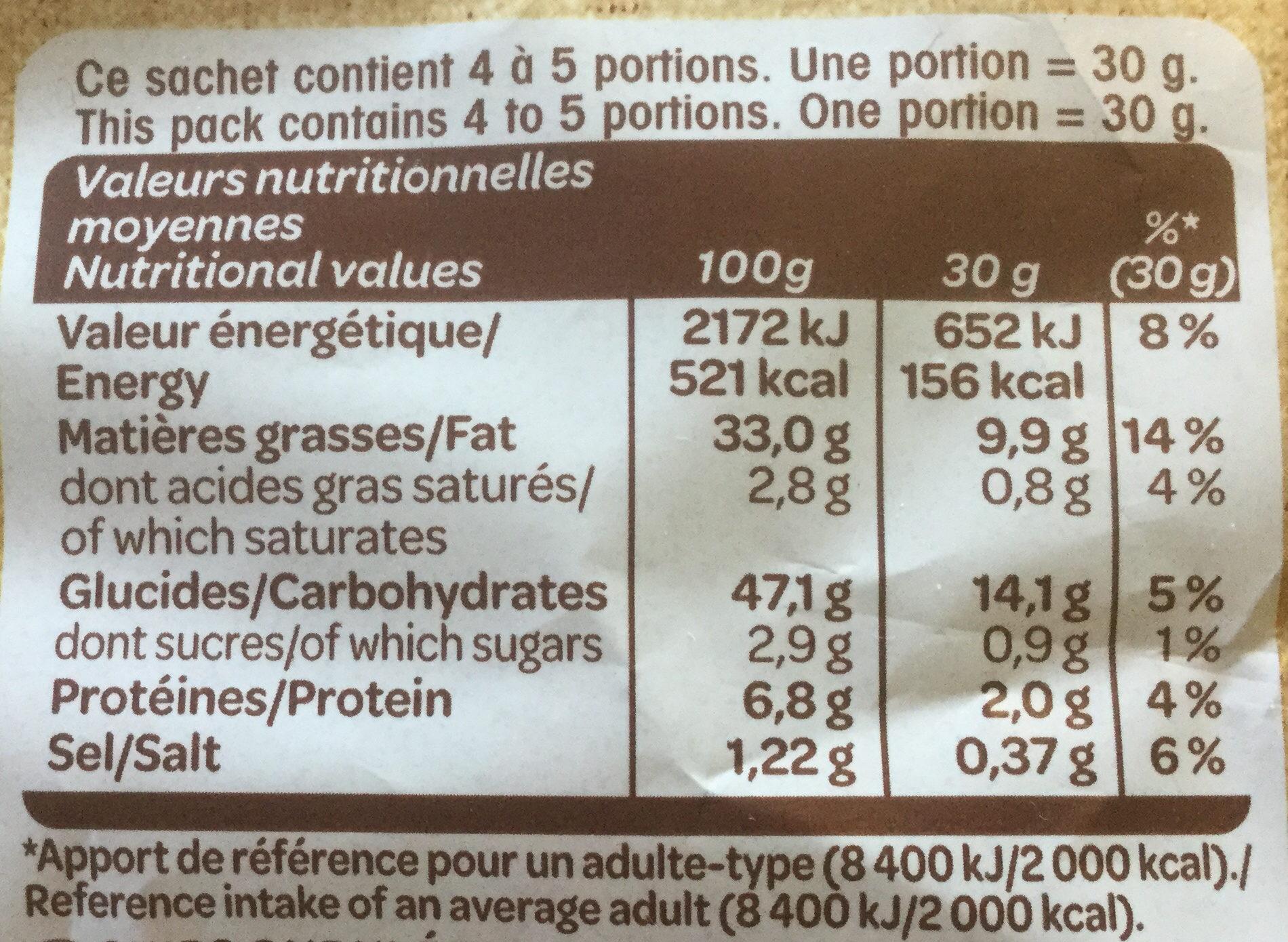 Chips La Gourmande (lot de 2, +10% gratuit) - Nutrition facts - fr