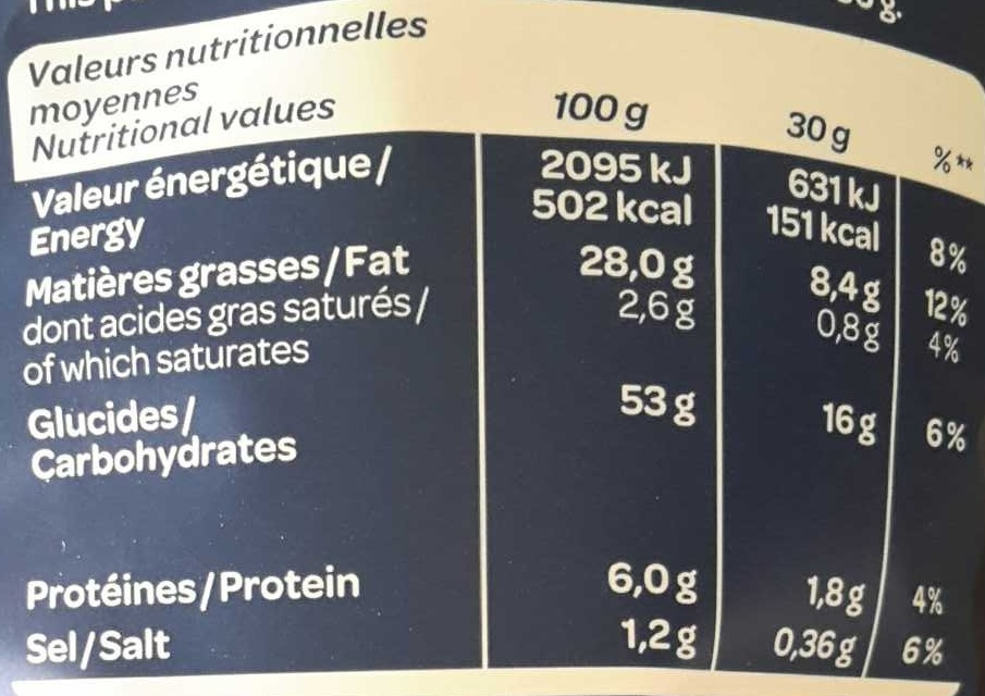 Chips Kettle Cooked Sel de mer - Nutrition facts
