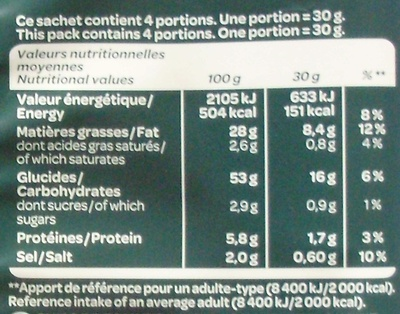 Chips Kettle Cooked Goût Vinaigre - Nutrition facts