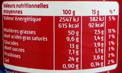Beurre de  cacahuète crunchy curly - Informations nutritionnelles - fr