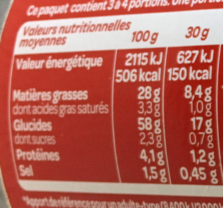 Hula Hoops - Nutrition facts