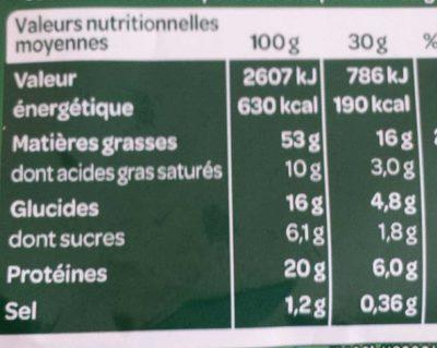 Pistaches au sel de guerande - Voedingswaarden - fr