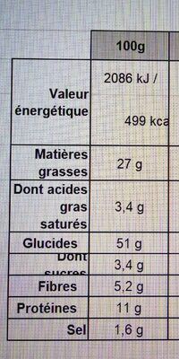 Curly Club - Format familial 135 g - Informations nutritionnelles