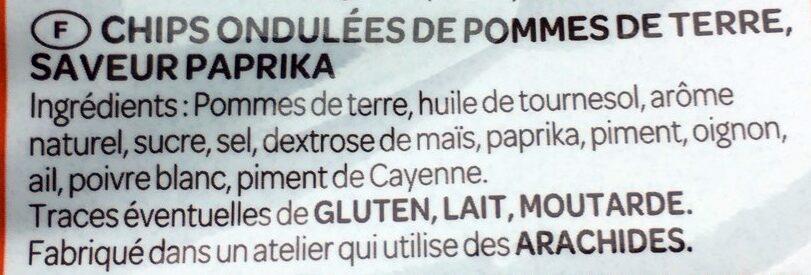 Chips ondulées Vico, saveur Paprika - Ingrediënten - fr