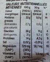 Natur'&Bon Mélange de noix nobles non salé - Informations nutritionnelles