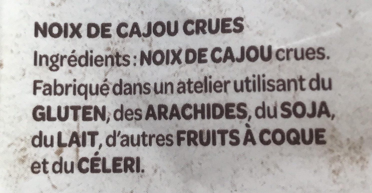 Natur'&Bon Noix de cajou non grillées non salé - Ingredients - fr