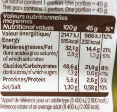 Chips saveur chèvre chaud 45g - Nutrition facts