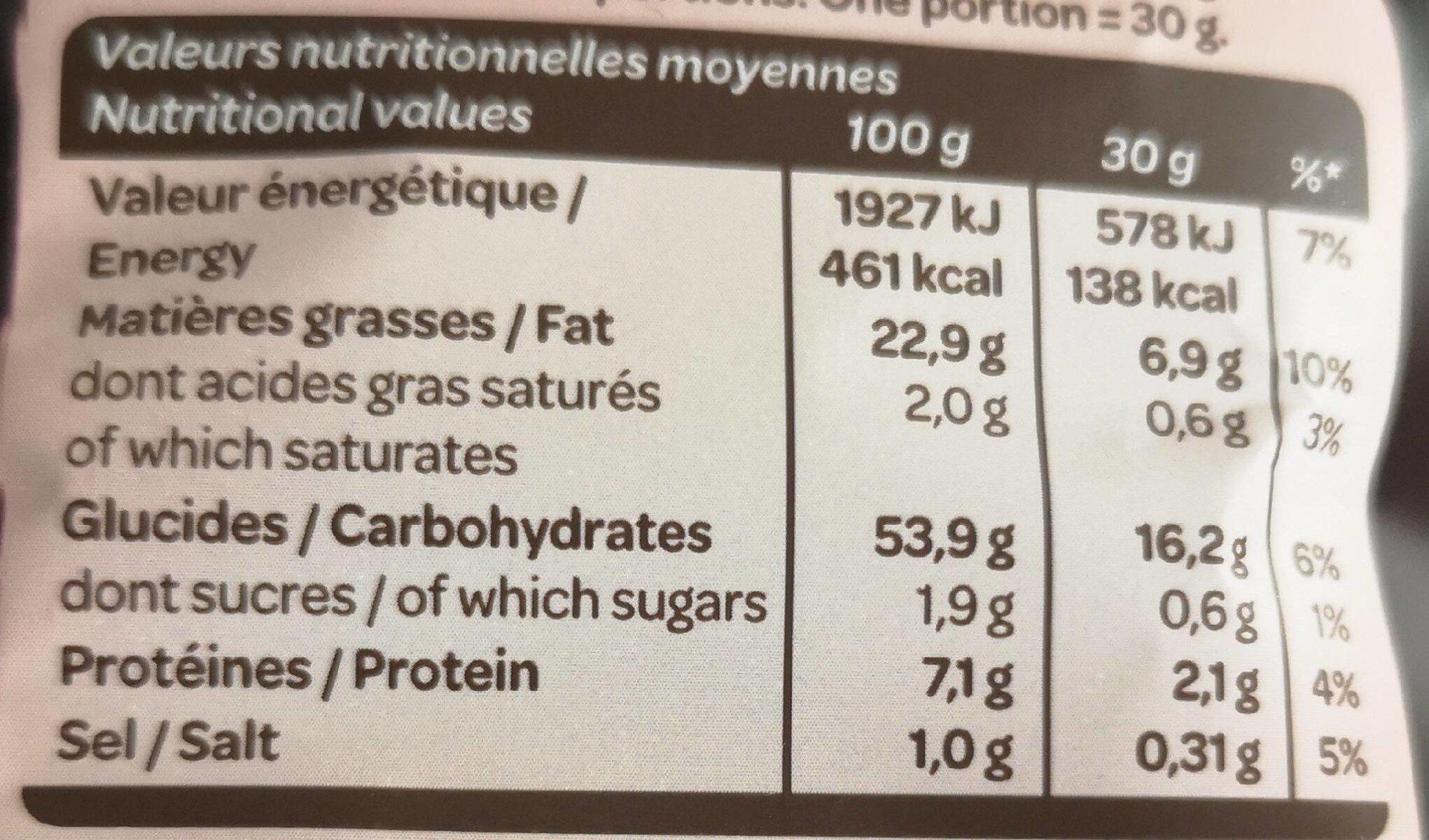 Chips allégée saveur barbecue - Informations nutritionnelles
