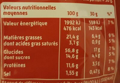 Curly donuts cacahuètes - Informations nutritionnelles - fr