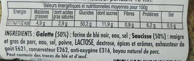 La Galette Saucisse - Nutrition facts - fr
