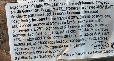 Galettes garnies chèvre, lardons fumés/oignons - Ingredients - fr