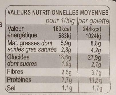 Galettes garnies Lardons fumés, champignons de Paris et emmental français - Informations nutritionnelles
