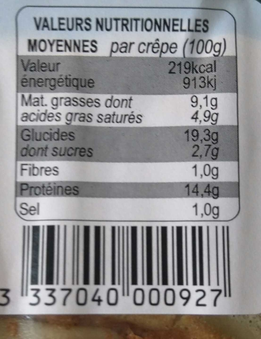 Crêpes garnies Jambon Emmental - Nutrition facts - fr