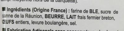 Kouign Amann Façon Mignardises - Ingredients - fr