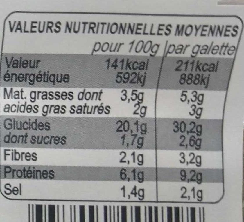 2 Galettes Garnies, Tomates Cuisinées, Chèvre Affiné et Herbes de Provence - Informations nutritionnelles