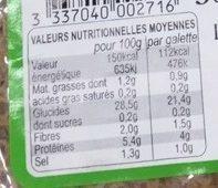 4 galettes bio blé noir biologique & sel de Guérande - Informations nutritionnelles