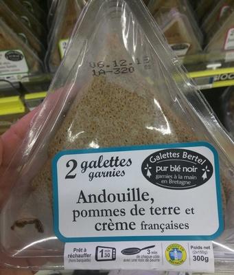2 Galettes pur blé noir Andouille pommes de terre crème françaises - Produit