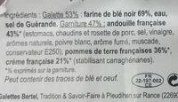2 Galettes pur blé noir Andouille pommes de terre crème françaises - Ingrédients