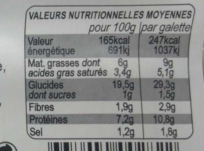 2 Galettes pur blé noir Andouille pommes de terre crème françaises - Informations nutritionnelles