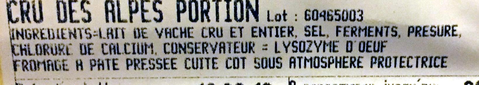 Cru des Alpes portion - Ingrédients - fr