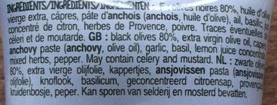 Tapenade noire - Ingredienti - fr