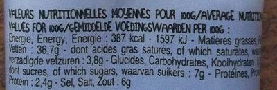 Tapenade noire - Valori nutrizionali - fr