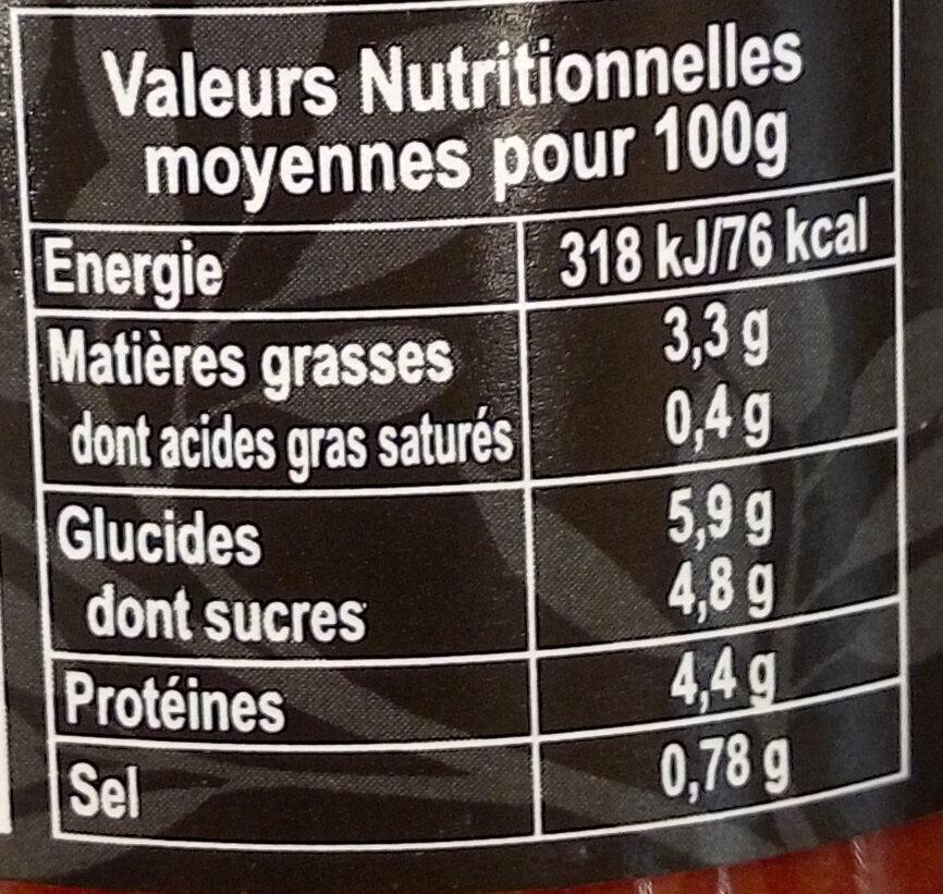 sauce bolognaise végétale - Nutrition facts - fr