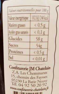 Confiture extra pruneaux - Informations nutritionnelles - fr