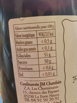 Gelée Extra Mûres - Valori nutrizionali