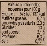 Parmentier de Boeuf - Voedingswaarden - fr
