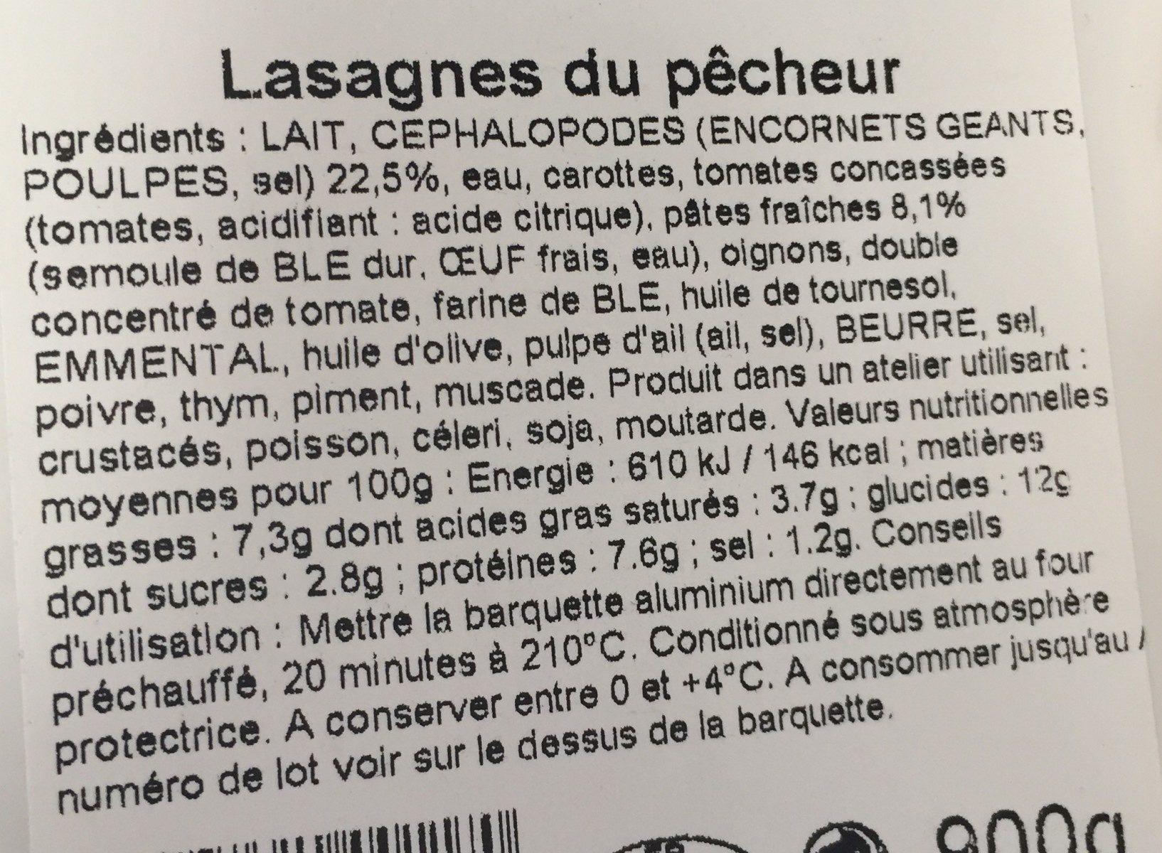 Lasagnes du pêcheur farce sétoise - Ingrediënten