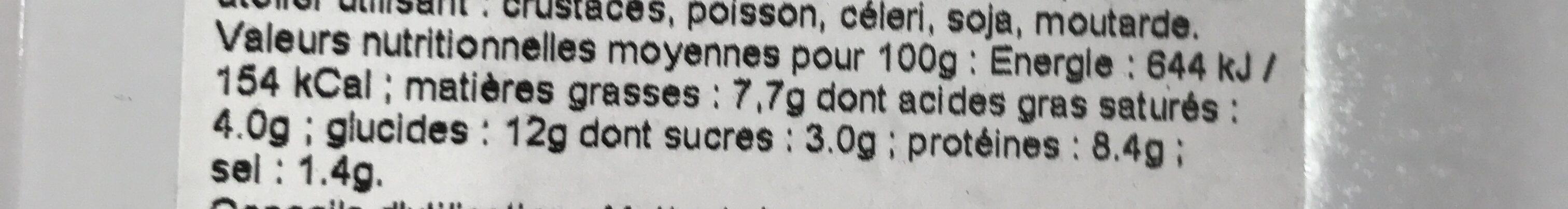 Lasagnes du pêcheur farce sétoise - Voedingswaarden