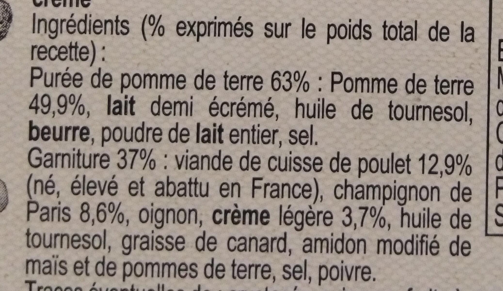 Parmentier de Poulet - Ingrediënten - fr