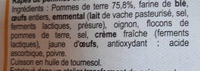 Râpés de Pommes de Terre - Ingrédients - fr