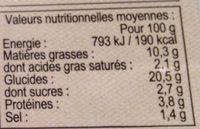 Râpés de Pommes de Terre - Informations nutritionnelles - fr