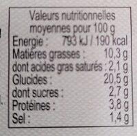 Râpés de pommes de terres - Informazioni nutrizionali - fr