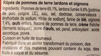 Râpés de pommes de terre lardons oignons - Ingrédients - fr
