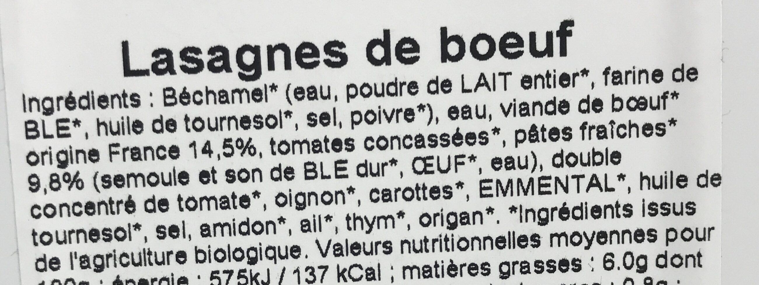 Lasagnes de Bœuf - Ingrédients
