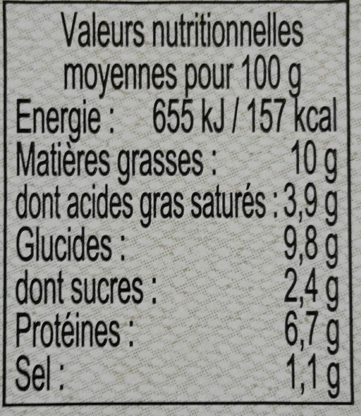 Parmentier de bœuf - Voedingswaarden - fr