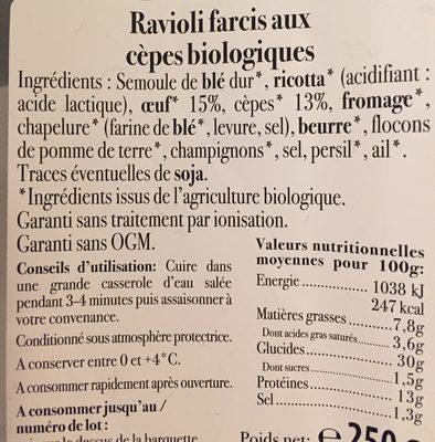 Ravioli aux cèpes - Ingrédients