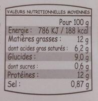Aligot saucisse - Voedingswaarden - fr